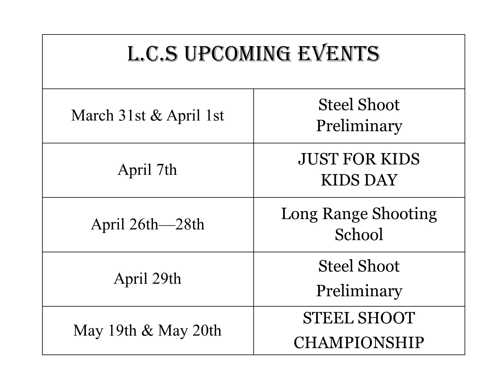 Upcoming Spring & Summer Events!